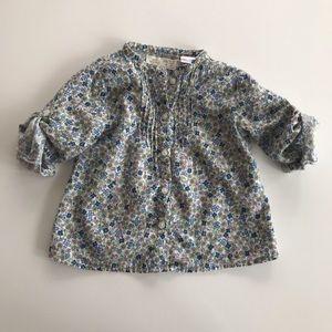 Zara toddler girl's floral button down shirt
